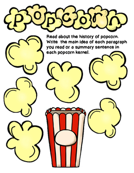 Main Idea and Summarizing Popcorn Graphic Organizer