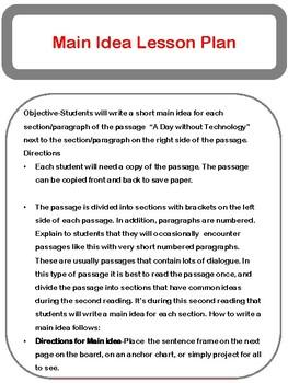 Main Idea and Summary Fiction Lesson Plan