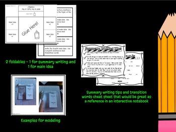 Main Idea and Summary Writing Foldables