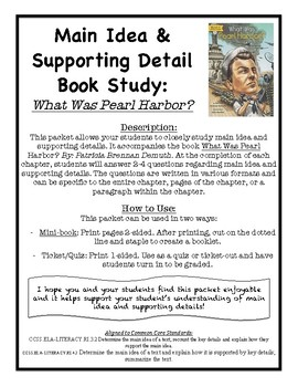 Main Idea and Supporting Detail Book Study - What Was Pearl Harbor