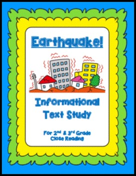 """Main Idea and Supporting Detail Practice for """"Earthquake"""" Close Read Grades 2-3"""