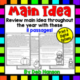 Main Idea and Supporting Details: 11 Monthly Worksheets!   PDF and Digital  