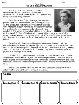 Main Idea and Supporting Details - Comprehension Passages and Questions