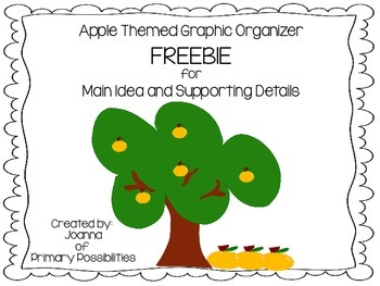 Main Idea and Supporting Details Apple Graphic Organizer- FREEBIE