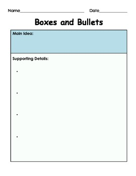 Main Idea and Supporting Details: Boxes and Bullets (Graphic Organizer)