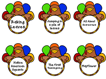 Main Idea and Supporting Details Center-- Thanksgiving Themed