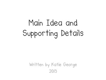RI.1.2 Common Core - Main Idea and Supporting Details For