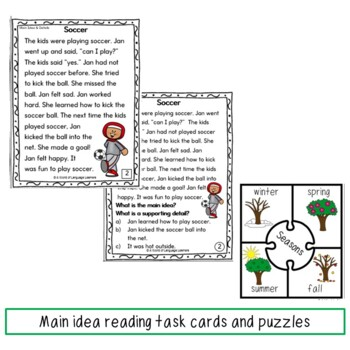 Main Idea and Supporting Details Learning Pack