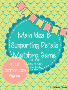 Main Idea and Supporting Details Matching Game