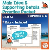 Main Idea and Supporting Details Packet - No Prep!
