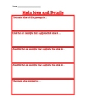 Main Idea and Supporting Details Paragraph Organizer