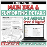 Main Idea and Supporting Details Passages Print & Digital