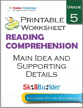 Main Idea and Supporting Details Printable Worksheet, Grade 5
