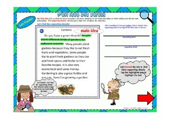 Main Idea and Supporting Details Smartboard Lesson and Activity