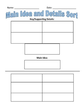 Main Idea and Supporting Details Sort