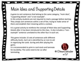Main Idea and Details - Sorting Game
