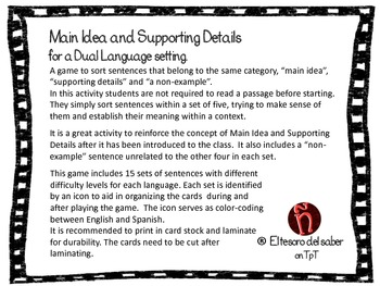 DUAL LANGUAGE Main Idea and Details Plus Odd-Man-Out - Sorting Game