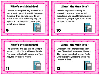 Main Idea and Supporting Details Task Cards