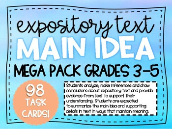 NEW! Main Idea Supporting Details STAAR Test Prep Task Cards 3.13A, 4.11A, 5.11A