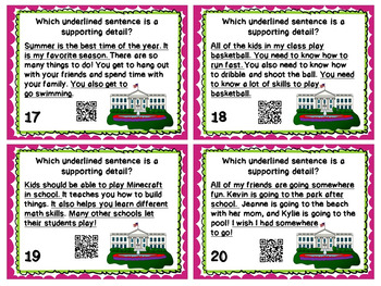 Main Idea and Details Task Cards with and without QR Codes
