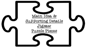 Main Idea and Supporting Details Text Talk Jigsaw Puzzle P