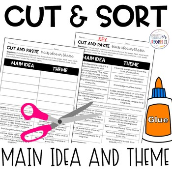 Main Idea and Theme Cut and Paste Sorting Activity