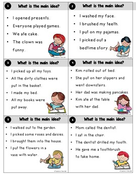 Main Idea and Topic Sentence Task Cards
