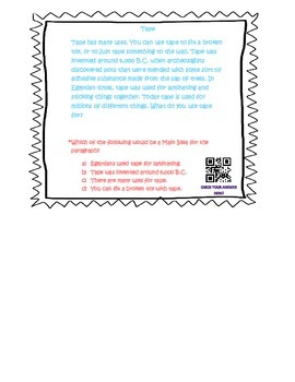 Main Idea and details Task Cards with QR code answers