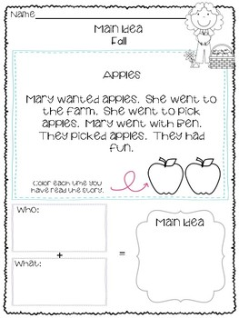 Main Idea for Beginners! Fall Edition **NO PREP**