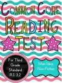 Main Idea for Non-Fiction Test: 3rd Grade Common Core Aligned