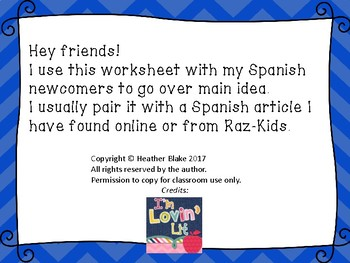 Main Idea for Spanish Newcomers