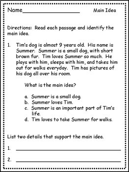 Main Idea for Third Grade: Differentiated Passages