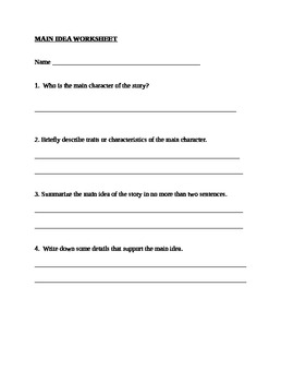 Main Idea lesson worksheet and graphic organizer