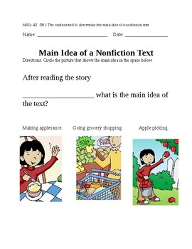 Main Idea of Nonfiction text- VAAP