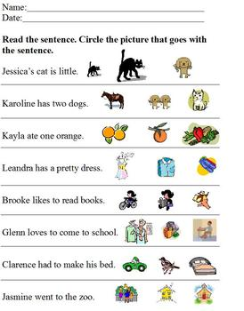 Main Idea of Sentence with Pictures; Comprehension; Specia