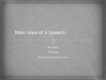 Main Idea of a Speech PPT