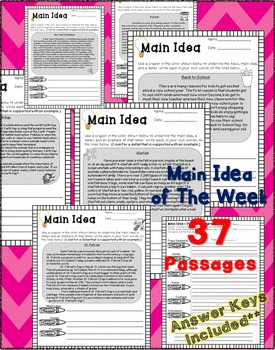 Main Idea of the Week Reading Comprehension Passages | Writing Organization