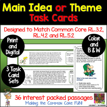 Main Idea or Theme Task Card Strips