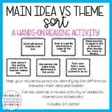 Main Idea vs Theme Sort (Print + Digital Versions)