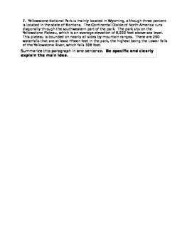 Main Idea/Summarizing Activity Sheet