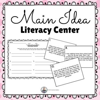 Main Idea Literacy Center with Task Cards