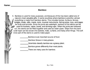 Main Ideas Worksheet About Bamboo - Science Plants + Reading Comprehension Skill