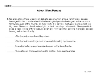 Animals: Giant Pandas Worksheet Reading Comprehension/Science / Main Ideas