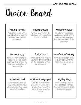 Main Ideas and Details Choice Board