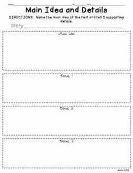 Main Ideas and Details Reading and Writing Graphic Organizer