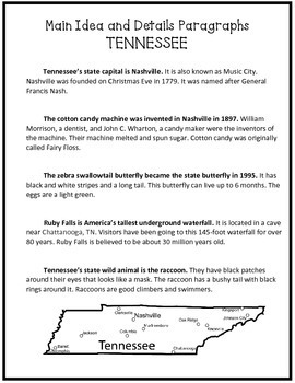 Main Ideas and Details: TENNESSEE {Common Core aligned}