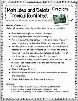 Main Idea and Details: TROPICAL RAINFOREST