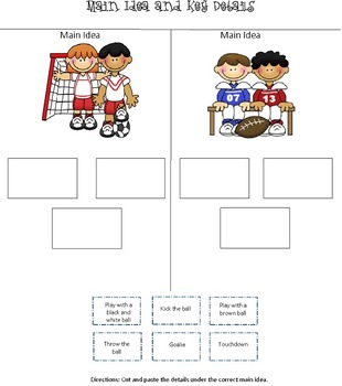 Main Ideas and Key Details Cut and Paste Sheets