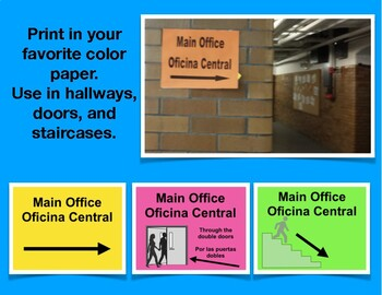 """""""Main Office"""" Sign in English and Spanish"""