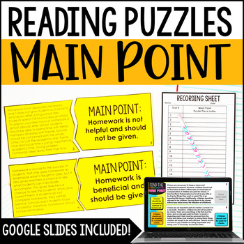 Main Point Reading Puzzles | Reasons and Evidence to Support Points